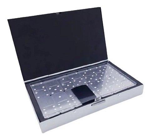 Mini Jogo Domino De Bolso Aluminio Para Viagens Estojo Metal