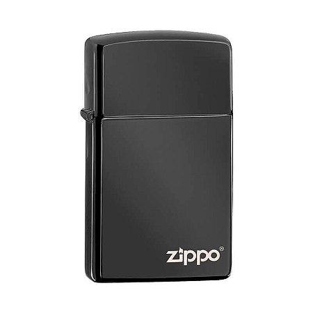 Isqueiro Zippo 28123ZL Slim Preto Ebony com Logo