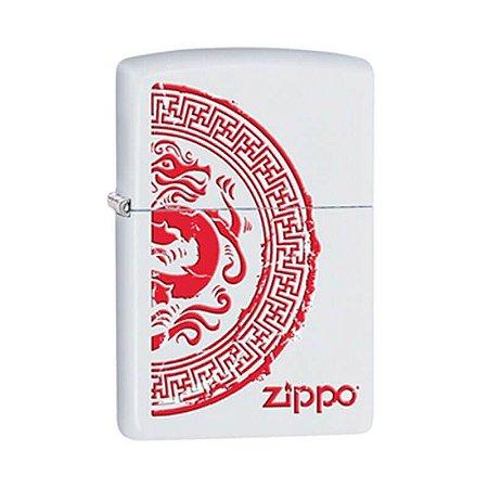 Isqueiro Zippo 28855 Classic Branco Dragão Chinês