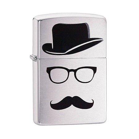 Isqueiro Zippo 28648 Classic Escovado Moustache and Hat