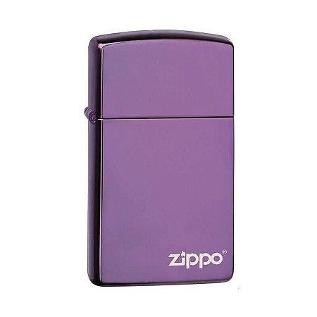 Isqueiro Zippo 28124ZL Slim Roxo Abyss com Logo