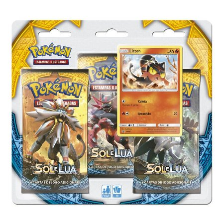 Pokémon TCG Triple Pack Litten - Sol e Lua