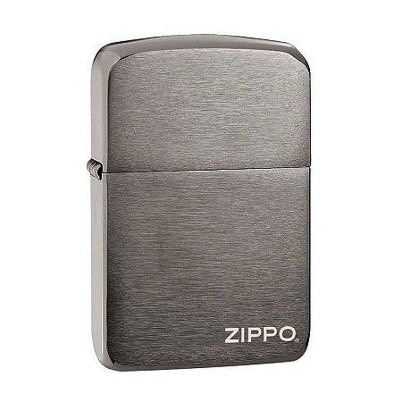 Isqueiro Zippo 24485 Replica 1941 Black Ice Escovado com Logo