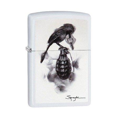 Isqueiro Zippo 29645 Classic Bird on Grenade ~ Spazuk Branco