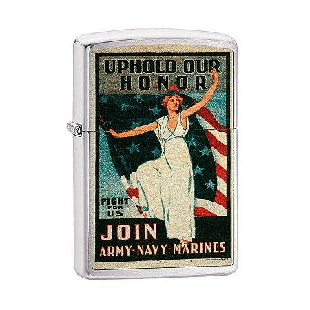 Isqueiro Zippo 29599 Classic U.S. ARMY - NAVY - Marine Vintage Poster Escovado