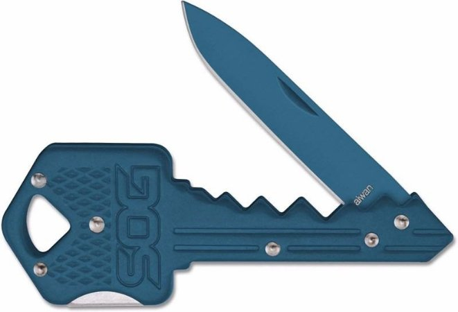 Faca Chave SOG Key Knife Chaveiro Dobrável Aço Inox Azul KEY-106B