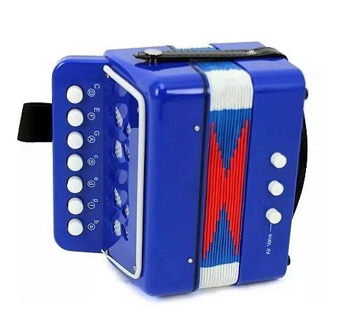Mini Sanfona Acordeon Infantil 8 Baixo Musical 221-7 Colibri