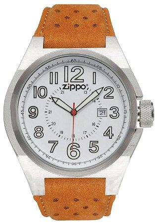 Relógio Casual Zippo 45011 C/ Pulseira de Couro Marrom