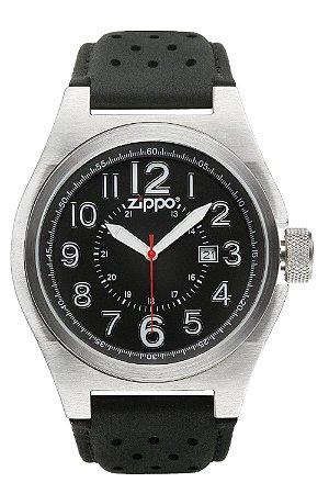 Relógio Casual Zippo 45010 C/ Pulseira de Couro Fundo Preto