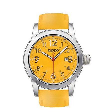 Relógio Analógico Zippo 45005 Aço Inoxidável  Couro Amarelo