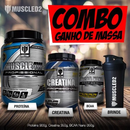 """COMBO GANHO DE MASSA - """"BRINDE"""" UMA COQUETELEIRA MUSCLED2!"""