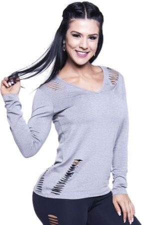 Blusa roupas de ginastica feminina 500sp