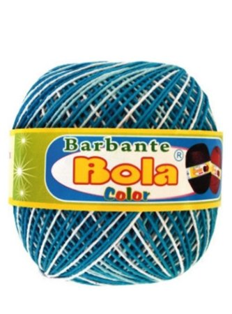Barbante 350m Bola Color Turquesa/Branco