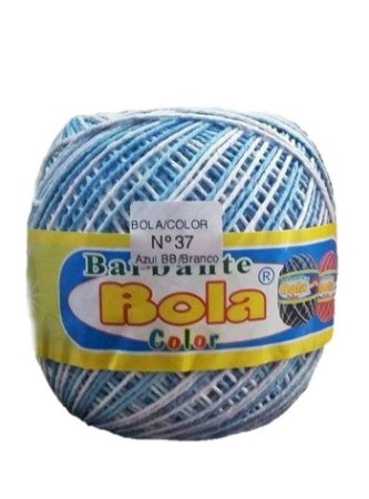 Barbante 350m Bola Color Azul Bebê/Branco