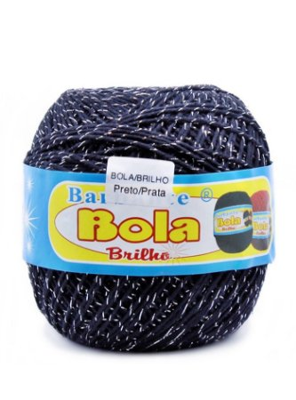 Barbante 350m Bola Color Brilho Preto/Prata