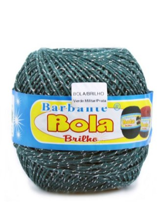 Barbante 350m Bola Color Brilho Verde Militar/Prata