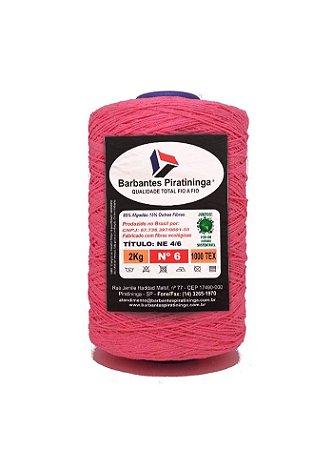 Barbante 2Kg Número 6 Rosa Fluorescente
