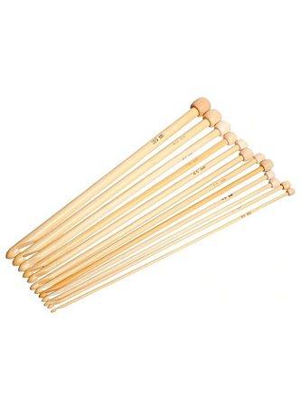 Kit Agulha de Bambu para Crochê Tunisiano 12 unidades