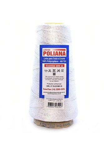 Linha Poliana Brilho 500m - Branco/Prata