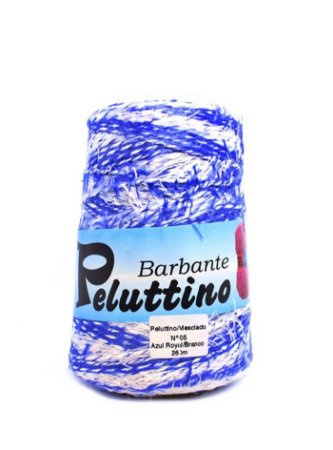 Barbante Felpudo Peluttino Mesclado Numero 6 Azul Royal/Branco