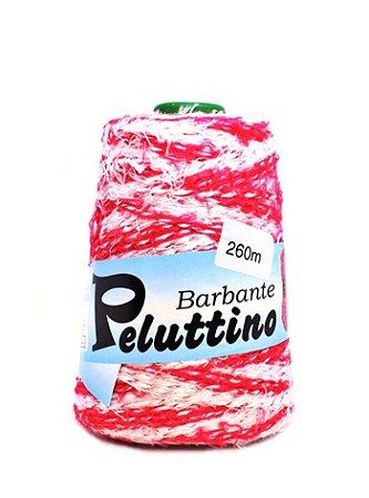 Barbante Felpudo Peluttino Mesclado Numero 6 Vermelho Maravilha/Branco