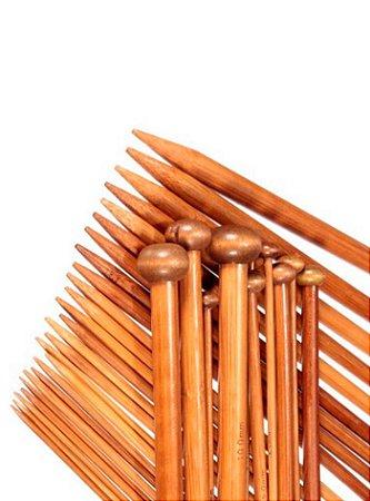 Kit Agulha de Bambu para Tricô 18 pares
