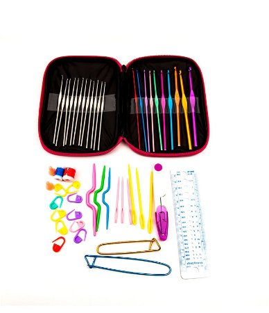 Kit de Agulhas para crochê com 22 unidades com acessosrios