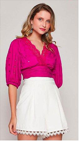 Blusa Cropped Transpasse Summer Pink