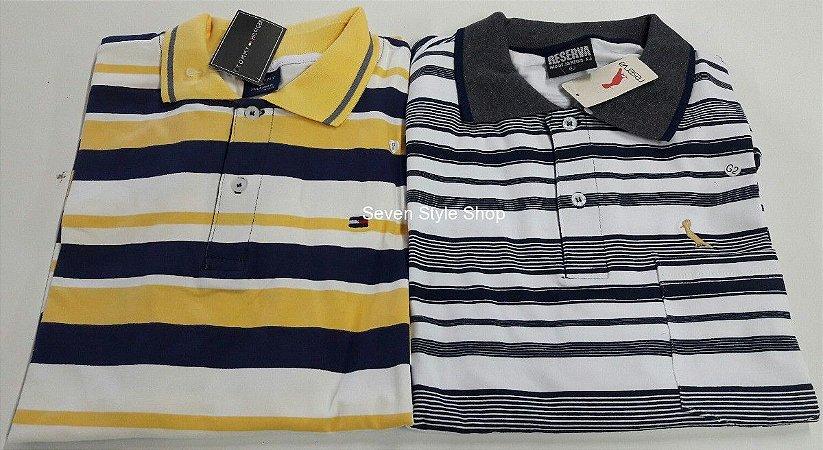 Kit 05 Camisas Polos Masculinas Listradas Premium Luxo - Atacado - R  37 f7366bde3c0