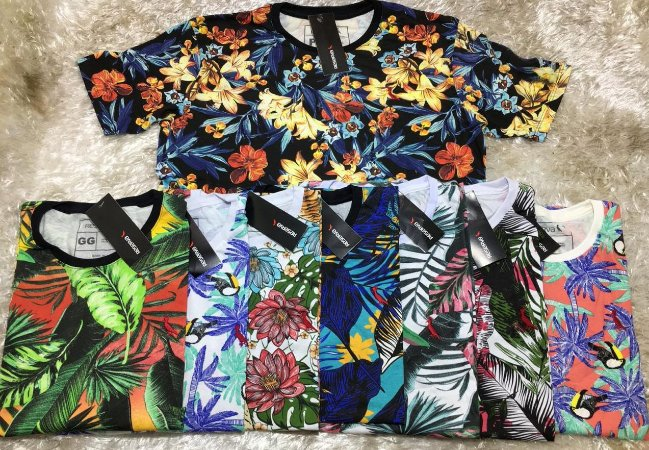 8b043c7adf KIT com 5 Camisetas Floral Malha Pré Encolhida - Atacado- 33