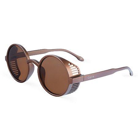 Óculos de sol redondo - Mico-leão-dourado - Marrom