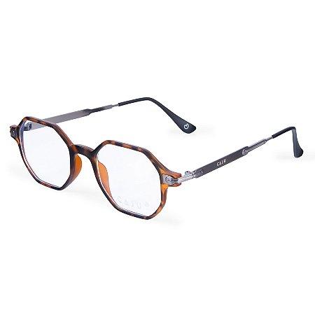 Armação para óculos de grau hexagonal - Imbuia - Tartaruga