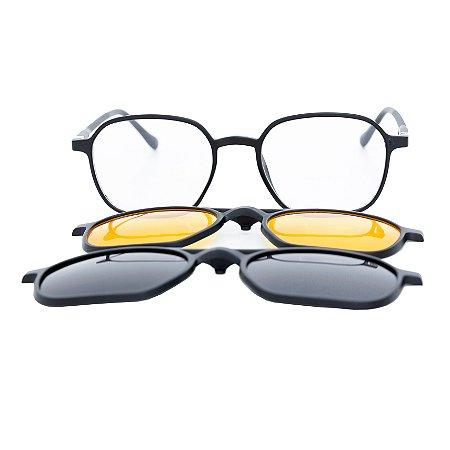 Armação para óculos de grau clip on aviador quadrado - Muçurana - 3 Lentes