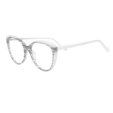 Armação para óculos de grau gatinho - Guaporé - Branco/Cinza