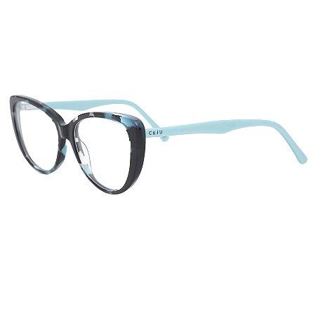 Armação para óculos de grau gatinho - Tropicália - Preto/Azul