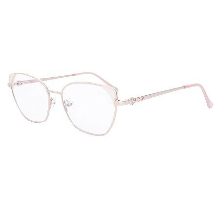 Armação para óculos de grau gatinho - Iara - Prata/Branco