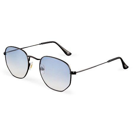 Óculos de sol hexagonal - Ilhabela - Dourado/Azul degradê