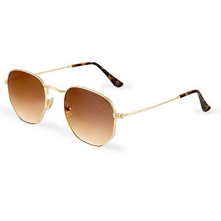 Óculos de sol hexagonal - Ilhabela - Degradê/marrom