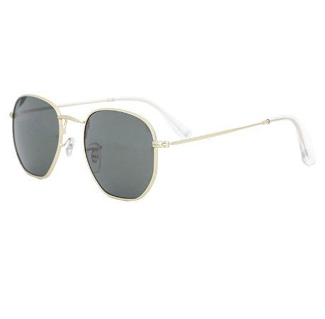 Óculos de sol hexagonal - Ilhabela - Dourado/Verde