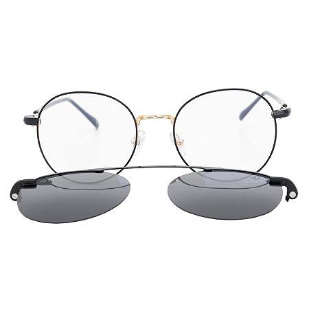 Armação para óculos de grau clip on redondo - Buriti - Preto/Dourado