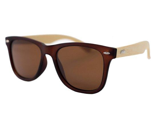 Óculos de sol retangular madeira - Cabreúva - Marrom