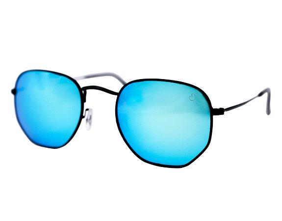 Óculos de sol hexagonal - Ilhabela - Preto/azul espelhado