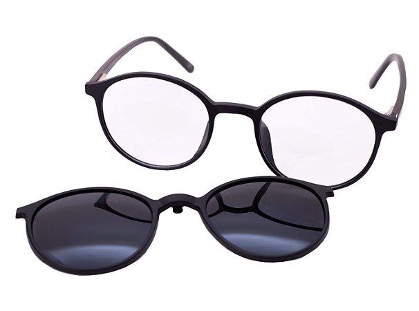 Armação para óculos de grau clip on redondo - Moreré - Preto