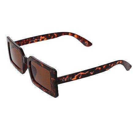Óculos de sol retrô retangular - Campoleta - Tartaruga