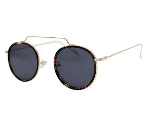 Óculos de sol redondo - Gramado - Dourado/Tartaruga