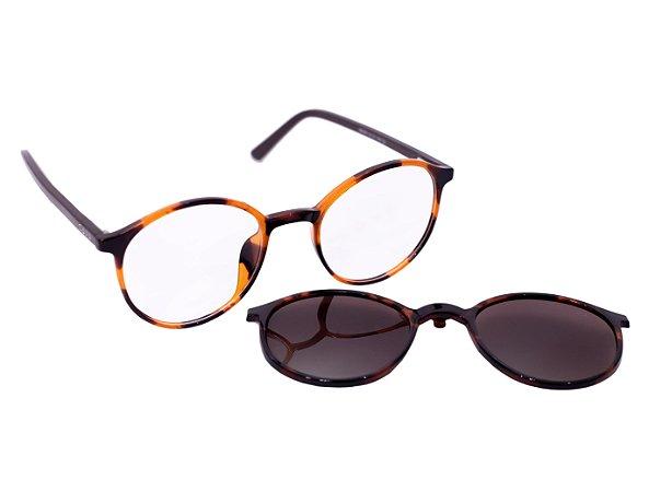 Armação para óculos de grau clip on redondo - Moreré - Tartaruga