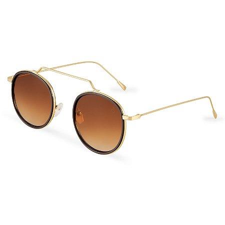 Óculos de sol redondo - Gramado -Dourado/degradê marrom