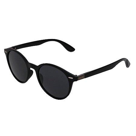 Óculos de sol redondo - Café - Preto fosco