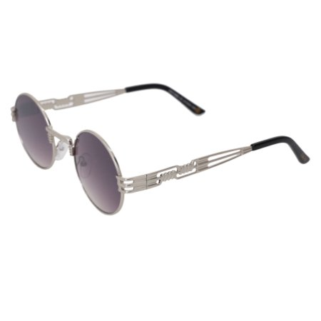 Óculos de sol redondo - Pequi - Prata/degradê azul