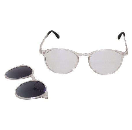 Armação para óculos de grau clip on redondo - Açaí - Transparente